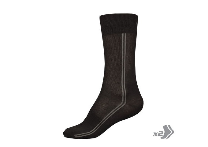 ENDURA COOLMAX® Long Sock (Twin Pack) Black click to zoom image
