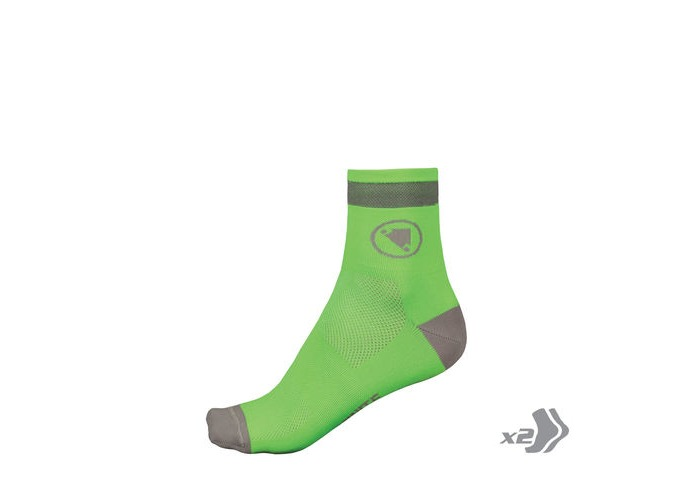 ENDURA Luminite Sock (Twin Pack) HiVizGreen click to zoom image
